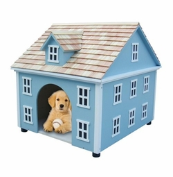 Nantucket Colonial Dog House in Blue<font color=a8bb35> NEW</font>