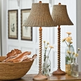 Natural Wooden Twist Stem Lamp