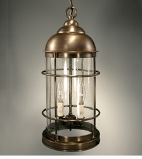 Nautical 2-Light Hanging Fixture with Clear Seedy Glass