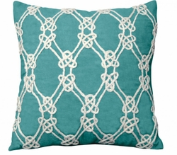Nautical Rope Indoor Pillow in Turquoise<font color=a8bb35> NEW</font>