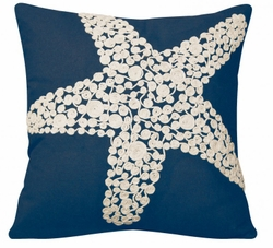 Navy Crewel Rope Knotted Starfish Indoor Pillow <font color=a8bb35> NEW</font>