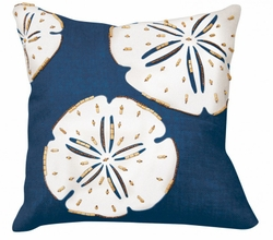 Navy Sand Dollar Beaded Applique Indoor Pillow<font color=a8bb35> NEW</font>