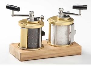 Ocean Reel Salt and Pepper Shakers on Teak Base