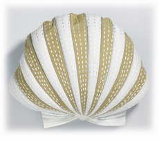 Outdoor Scallop Pillow in Beige and White