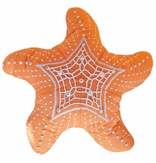 Outdoor Sunbrella Starfish Pillow in Tangerine