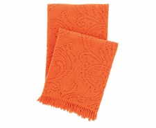Paisley Lace Orange Throw