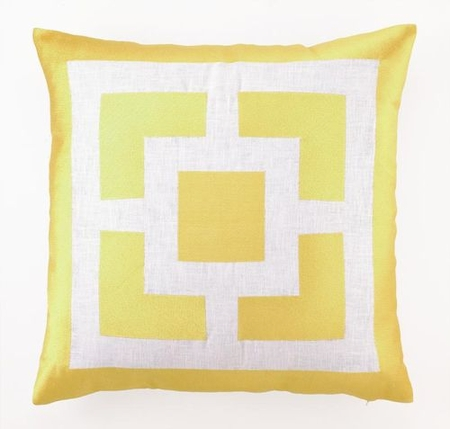 Palm Springs Blocks Embroidered Pillow in Yellow