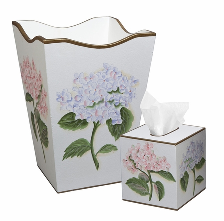 Pink and Blue Hydrangeas on White Background Bath Set