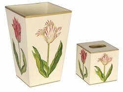 Pink and White Tulips on an Ivory Background Bath Set