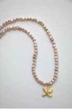 Pink Freshwater Pearl with Starfish Necklace <font color=a8bb35> NEW</font>