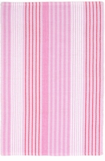 Pink Sand Ticking Woven Cotton Rug <font color=a8bb35> NEW</font>