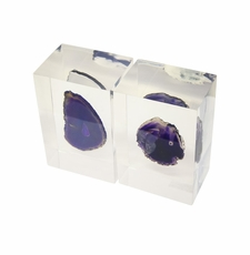 Purple Agate Bookends  <Font color=a8bb35> NEW</font>