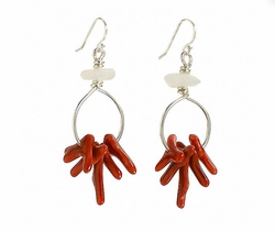 Reproduction Coral Bead Earrings<font color=a8bb35> NEW</font>