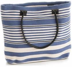 Dash and Albert Rugby Stripe Demin Tote