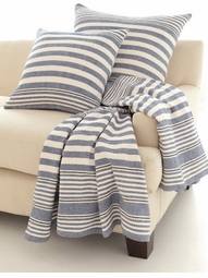 Rugby Stripe Denim Woven Cotton Throw<font color=a8bb35> NEW</font>