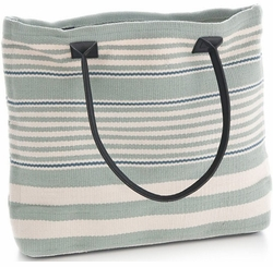 Rugby Stripe Light Blue Tote<font color=a8bb35> NEW</font>