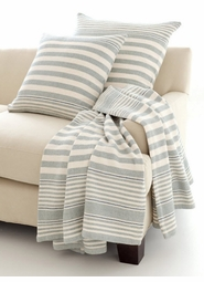 Rugby Stripe Light Blue Woven Cotton Throw<font color=a8bb35> NEW</font>