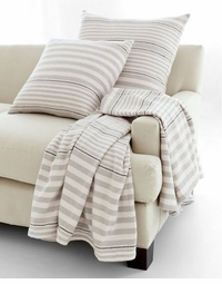 Rugby Stripe Platinum Woven Cotton Throw<font color=a8bb35> NEW</font>