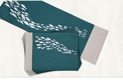 School of Fish Table Runner and 4 Placemats <font color=a8bb35> NEW</font>