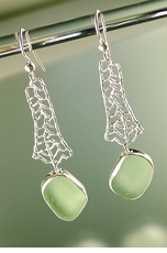 Sea Fan Earrings with Sea Glass Nugget <font color=a8bb35> NEW</font>
