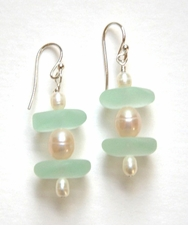Seafoam Sea Glass Earrings with Natural Pink Pearls