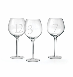Set Of 12 Numerology Wine Glasses <font color=a8bb35> NEW</font>
