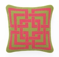 Shanghai Links Needlepoint in Pink and Green 12 x 12