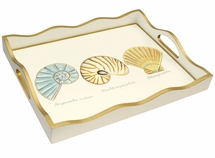 Shell Painted Tray <font color=a8bb35> NEW</font>