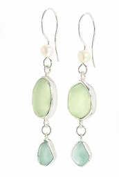 Shimmer Double Loop Sea Glass Earrings<font color=a8bb35> NEW</font>
