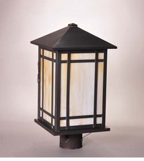 Sierra 1-Light Post Lantern with Caramel Glass
