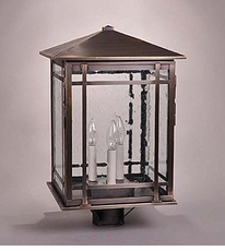 Sierra 3-Light Post Lantern with Clear Seedy Glass