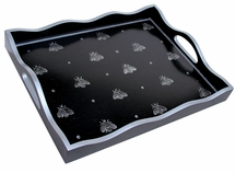 Silver Bee on Black Tray