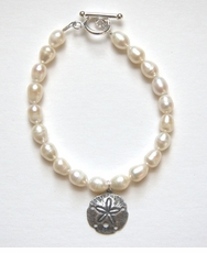 Silver Sand Dollar and Pearl Bracelet