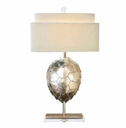 Silver Tortoise Table Lamp <Font color=a8bb35> NEW</font>
