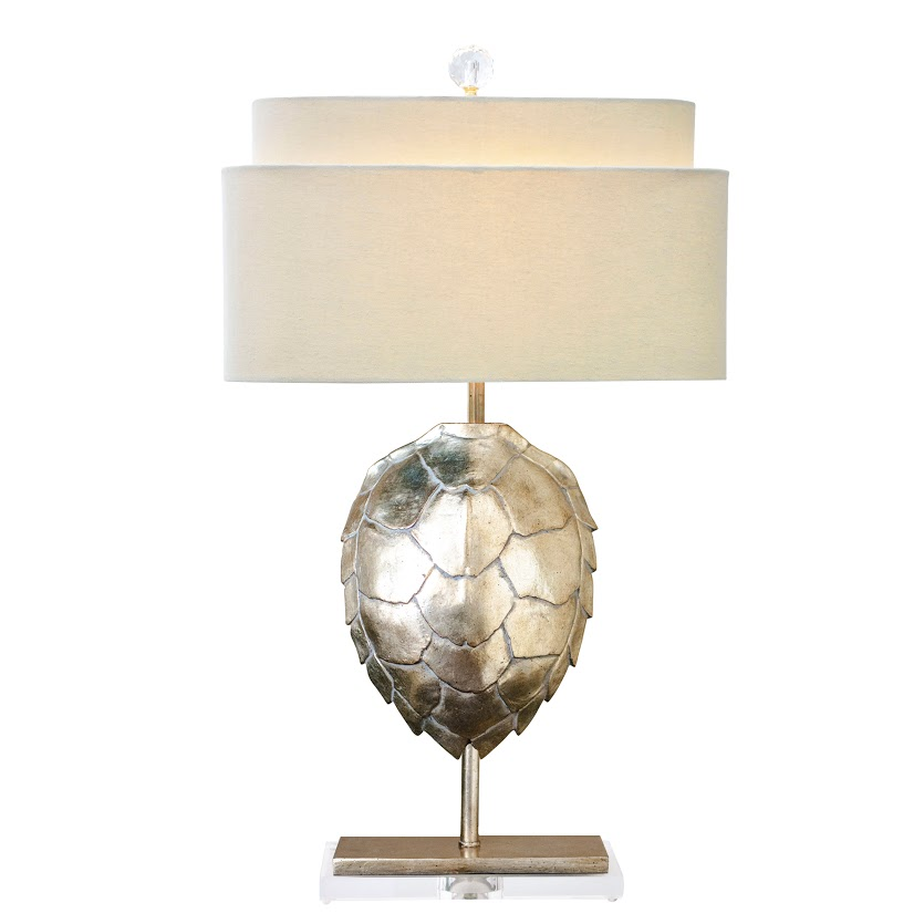 Silver Table Lamps : Silver Tortoise Table Lamp NEW