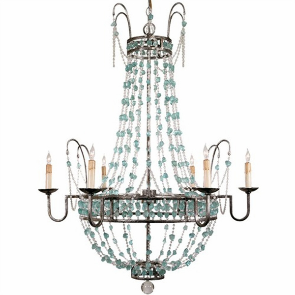 Six Light Aqua and Pewter Leaf Chandelier