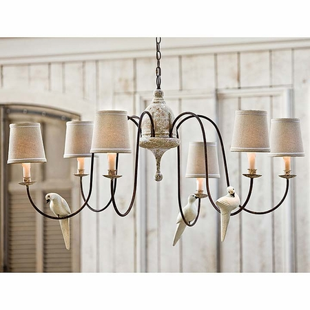 Six Light Rusted Arm Antique Chandelier