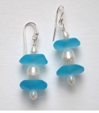 Sky Blue Sea Glass and Pearl Earrings