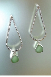 Slender Sea Glass Tall Curve Earring<font color=a8bb35> NEW</font>