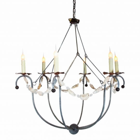 Spring Island Small White Basket Chandelier