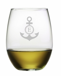 Stemless Wine Glass with Monogram Anchor Set of 4<font color=a8bb35> NEW</font>
