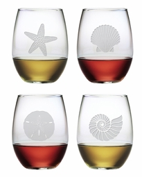 Stemless Wine Glasses Seashore Set of 4<font color=a8bb35> NEW</font>