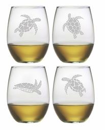 Stemless Wine Glasses with Sea Turtles<font color=a8bb35> NEW</font>