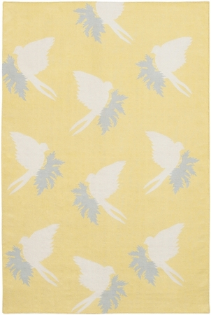 Swallows in Corn and Cream Dhurrie