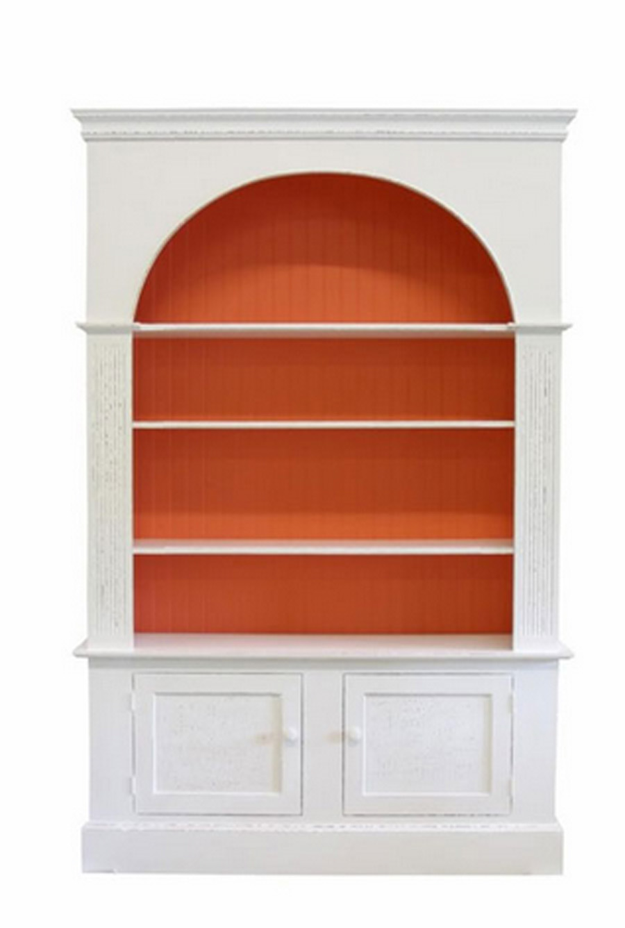 Large Arch Bookcase 84H x 55W x 13.5D @ Crown, 10.75D @ Interior, One