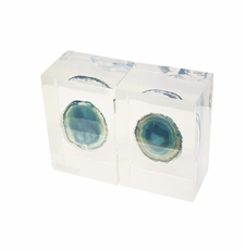 Teal Agate Bookends  <Font color=a8bb35> NEW</font>
