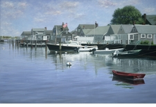The Red Boat - Nantucket Harbor Giclee