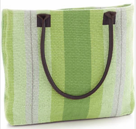 Dash and Albert Thyme Ticking Woven Cotton Tote Bag