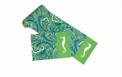 Turquiose Paisley and Seahorse Table Runner and 4 Placemats <font color=a8bb35> NEW</font>