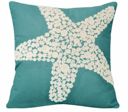 Turquoise Crewel Rope Knotted Starfish Indoor Pillow <font color=a8bb35> NEW</font>